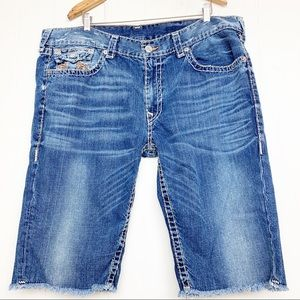 True Religion The cutoff distressed shorts raw hem